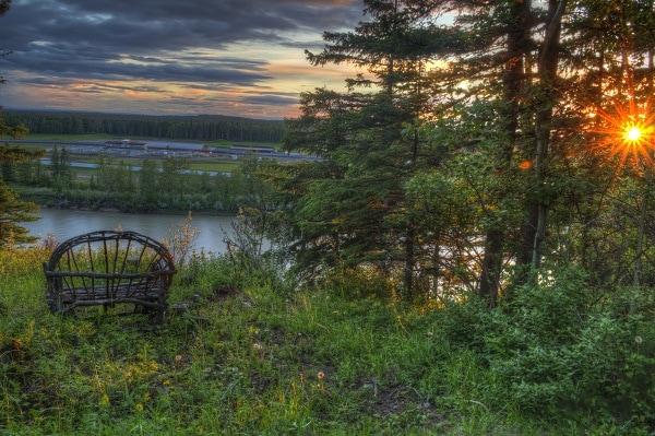 Rocky Mountain House, View, river, North Saskatchewan River