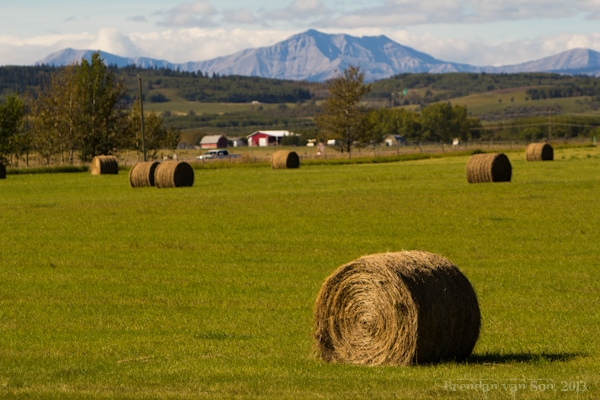 Cowboy Trail, mountains and hay bales