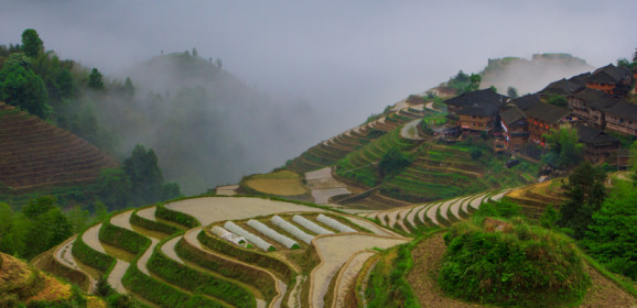 Exposing Sunset and Sunrise at Dragon's Backbone Rice Terraces in Tiantou, China