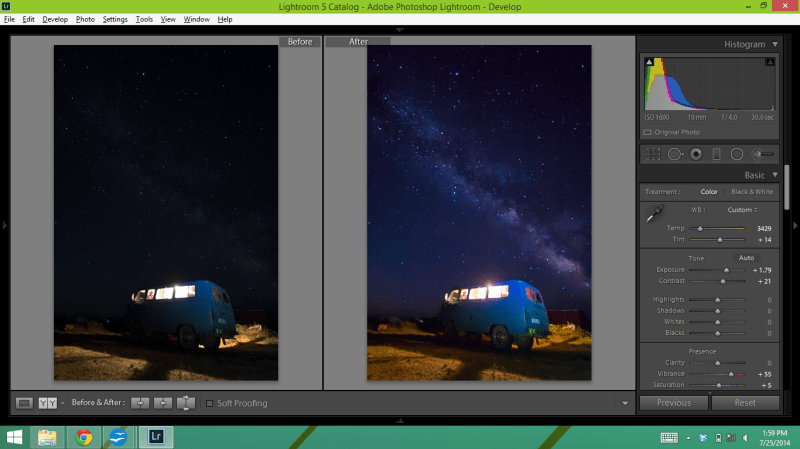 Before and After Star Photo Edit