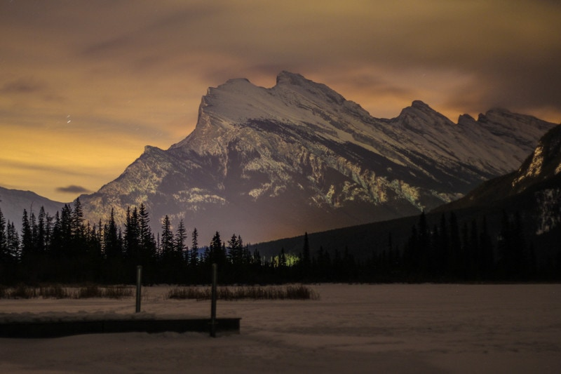 Banff Night Photography, Rundle Mountain