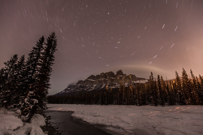Banff Night Photography, Castle Mountain