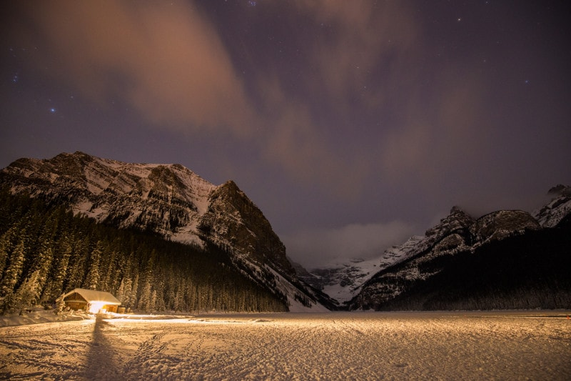 Banff Night Photography, Lake Louise Winter
