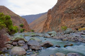 trekking the colca canyon, peru, south america, hiking, colca river