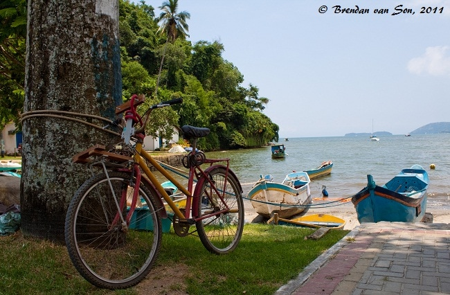 A colourful bike on the beach in Paraty