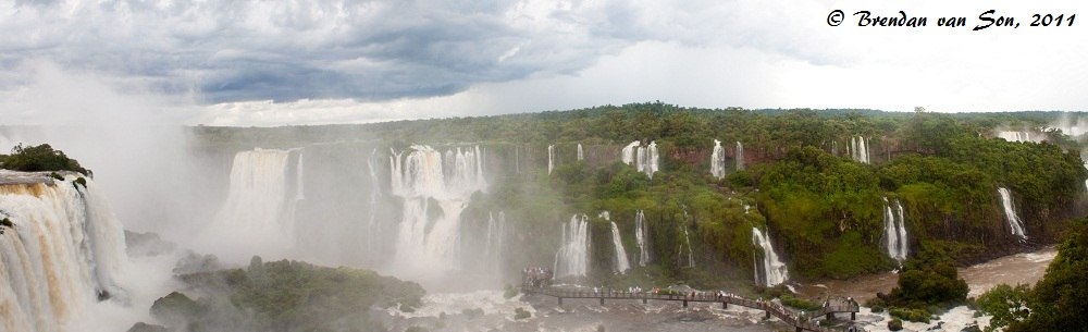A Panoramic of the falls from the Brazilian side of Iguazu Falls.  Click to enlarge.