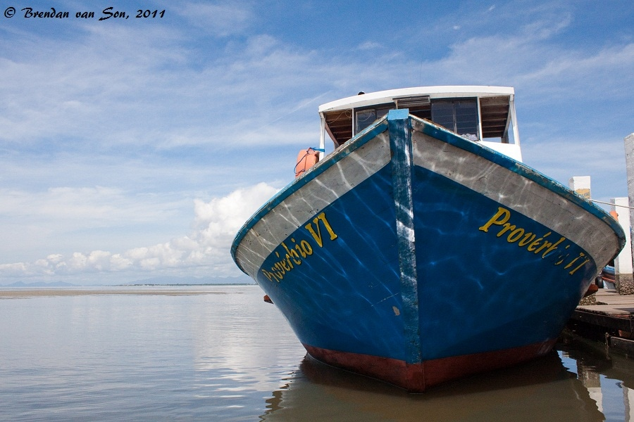 A boat in the port at Ilha do Mel