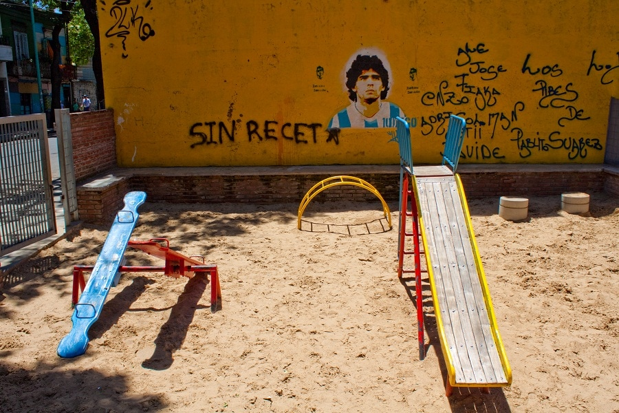 Maradona is everywhere in Argentina, even watching your kids!