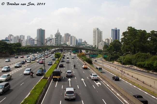 A busy freeway in Sao Paulo, Things to do in Sao Paulo, Brazil