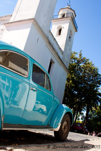 Colonia de Sacramento, Uruguay, church, car