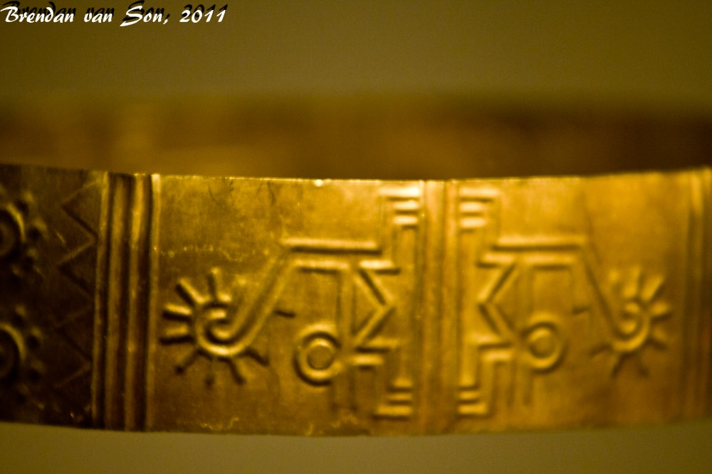 Gold bracelet close-up