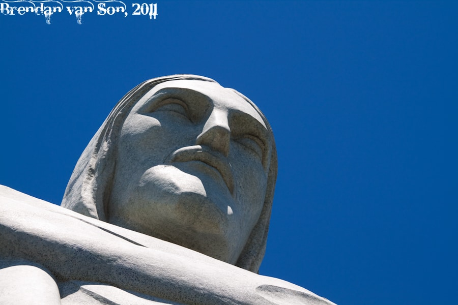 A close up of Christ the Redeemer