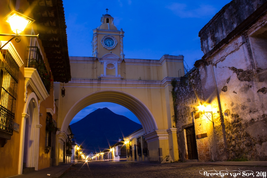 The street in Antigua, Guatemala