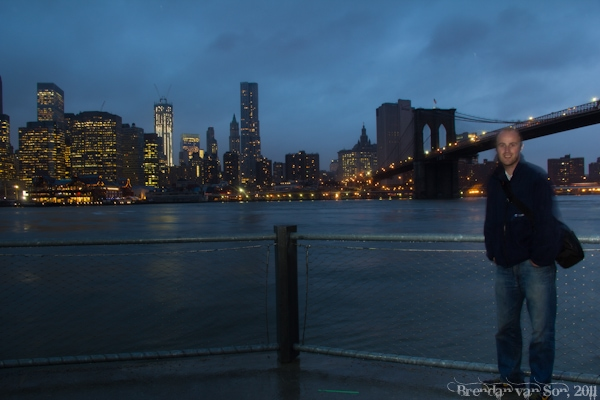 The Brooklyn Bridge and New York Skyline