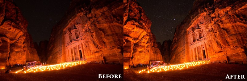 petra by night Before and After