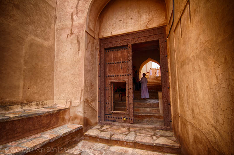 At the entrance to Nakhal Fort, Oman