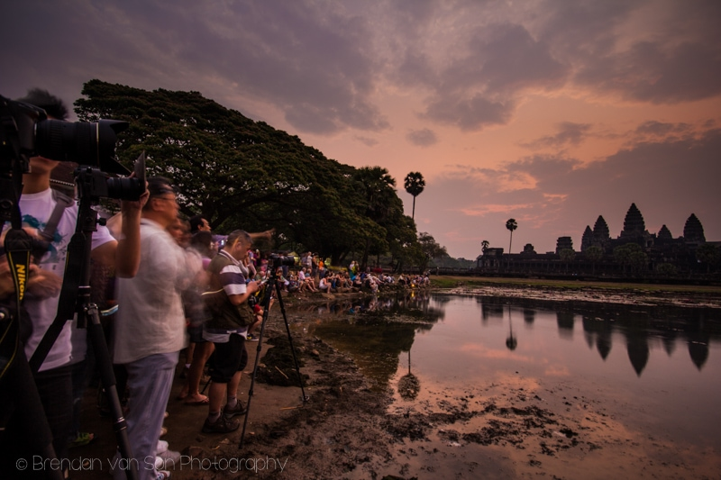 Angkor Wat Crowds Sunrise