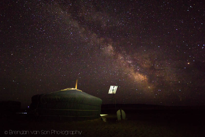 This was the first star shot I took in the Gobi.  That's the Ger we slept in for the night.  I tried using a subtle lighting and an obvious dark sky.