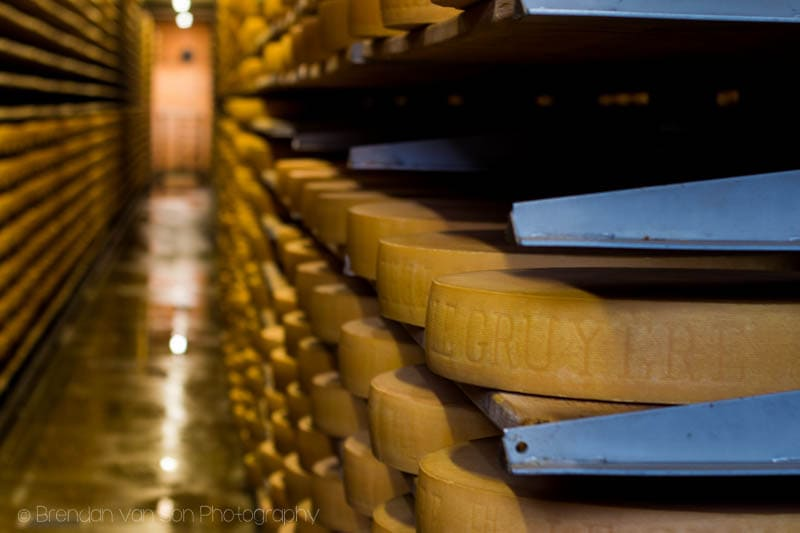 "Inside the ""Maison de Gruyere"" aka the cheese factory.  Lots of cheese aging. Shot at 50mm, f/3.2, 1/10sec., ISO320"