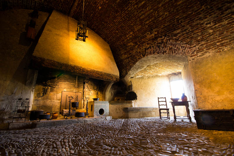 The kitchen inside the castle. Shot on a tripod at 10mm: f/9, 2.5sec., ISO100