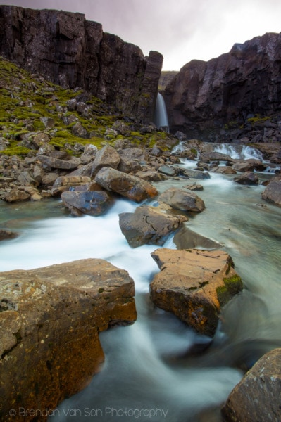Smooth waterfall fall photo Iceland