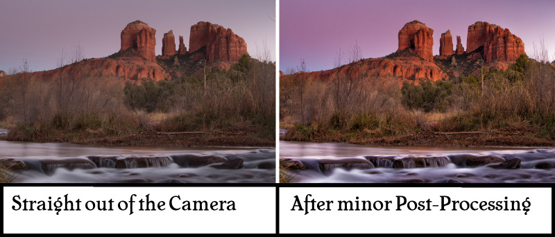 Before and after editing