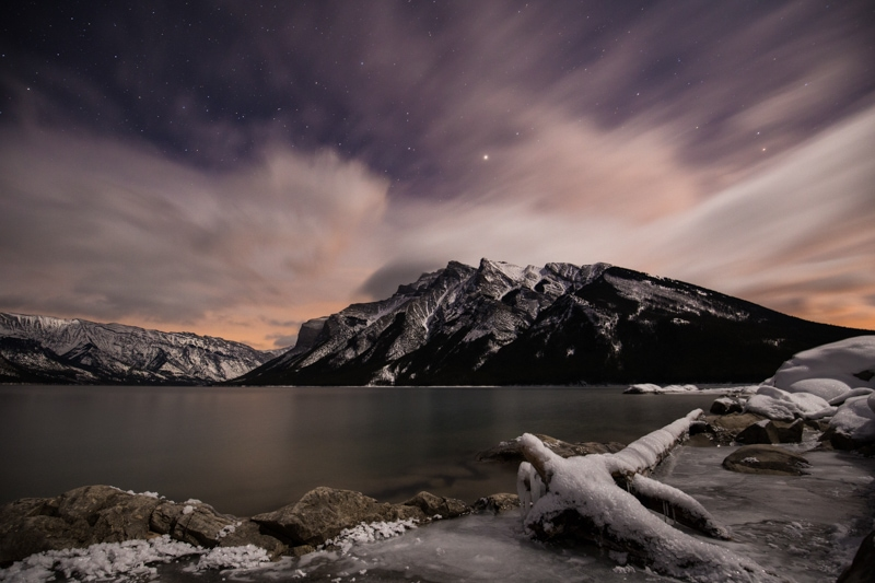 Banff Night Photography, Lake Minnewanka