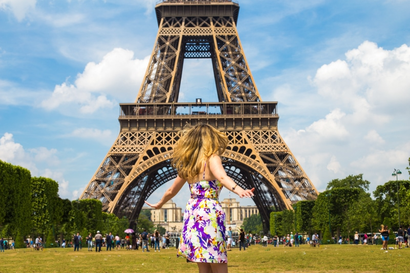 Erin taking in the Eiffel Tower.