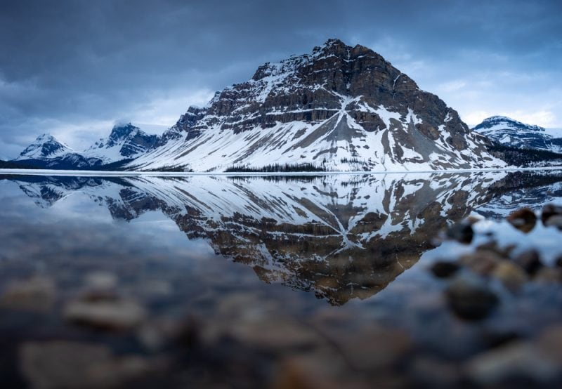 Bow Lake. Reflections of the mountains in the lake.