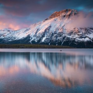 Mountains and reflection on Waterton Lake