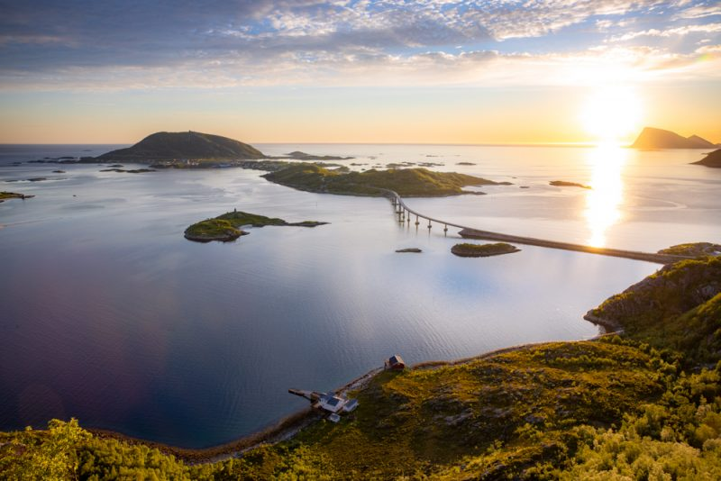 the midnight sun on the coast of norway