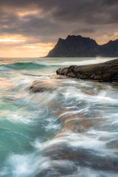 beautiful skies and wild seas at uttakleiv beach, norway