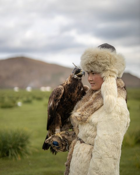 Aisholpan -the eagle huntress with her eagle