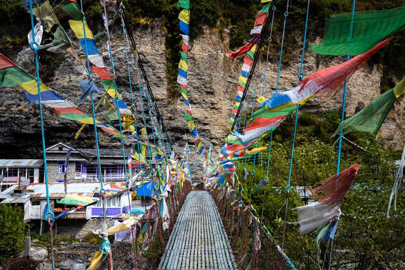 A suspension bridge on the Annapurna Circuit