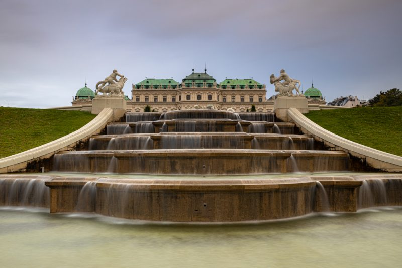 Belvedere palace vienna with fountain