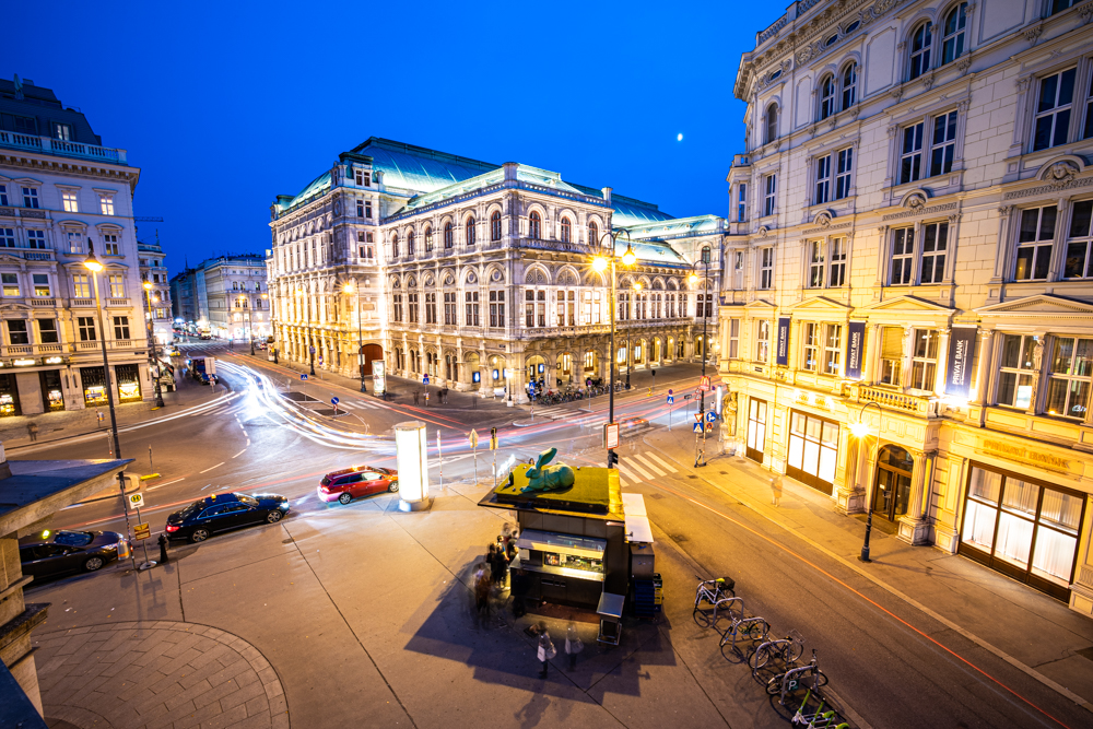 Vienna opera house during the blue hour